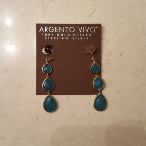 Jewelry - Argento Vivo GP SS Triple Drop Aquamarine Earrings